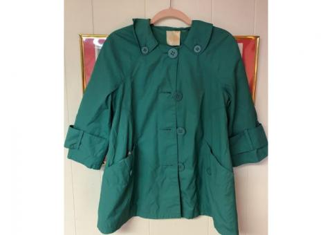 Teal Women's Coat w/Floral Pattern interior