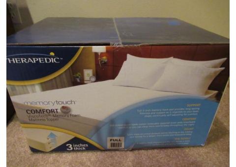 "3"" memory foam mattress topper, NEW, never used, FULL size"